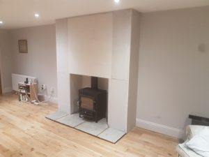 Clearview Vision with twin wall flue and false chimney breast