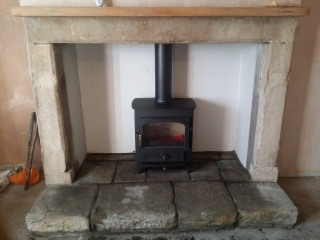 Vision in stone fireplace
