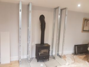 Clearview Vision with twin wall flue starting to install false chimney breast