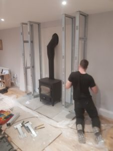Clearview Vision with twin wall flue installing false chimney breast
